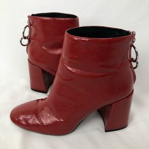 ZARA red patent leather boots